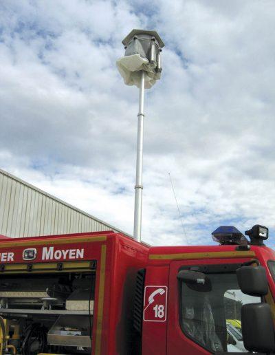 Lumicone en déploiement sur camion pompier