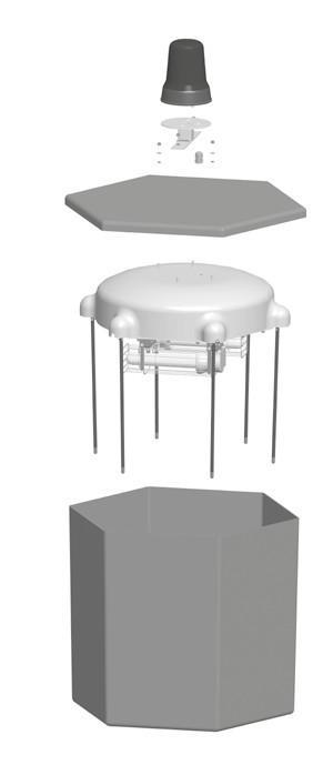 Caisson de protection et de rangement pour système de mât spécial d'éclairage Lumicone