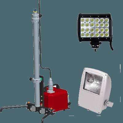 Servolux avec éclairage mobile autonome avec projecteurs au choix